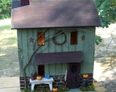 Primitive Lighted Fall Farmhouse Folk Art worn sage w/ rusty roof ~ pumpkins ~ Comes w/ light and cord ~ Birdhouse ~  Very unique!