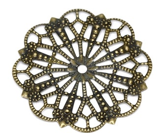 Filigree : 10 pieces Antique Bronze Filigree Flower Wraps Connectors Links | Brass Filigree Stampings -- Lead, Nickel & Cadmium free 14300.T