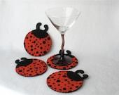 Felt Ladybug Coasters, Hostess Gift, Red and Black Polka Dot,  Garden Insects MugMats Set of Four