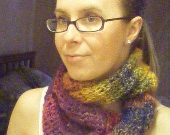 Rainbow crocheted infinity scarf.