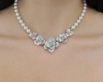 Bridal Jewelry SET,  Swarovski Wedding Necklace,  Flower Wedding Earrings Chunky Bridesmaids, Rhinestone Crystal, Scarlett Bridal SET