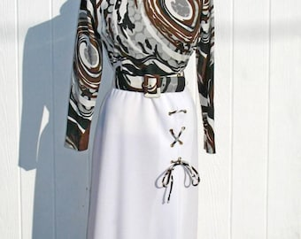 Vintage 70s Maxi Dress * Op Art Maxi Dress * Brown and White Dress * Abstract Dress *1970s Dress * 70s Dress