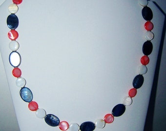 Red White Blue Mother of Pearl Necklace