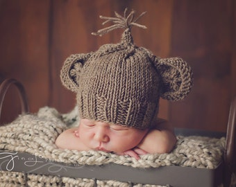 KNITTING PATTERN ONLY- Newborn Monkey Hat