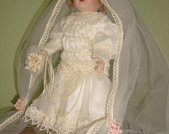 Sale Maryle Nicole Victorian BRIDE DOLL Lace Pearls Porcelain Heirloom Collectible Doll