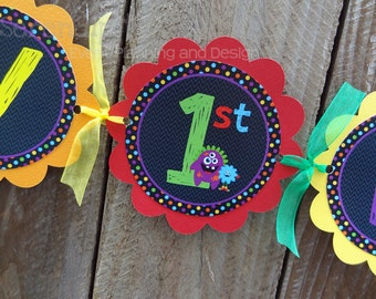 Personalized Happy Birthday Banner -Monster Bash -Birthday Banner -Monsters -Photo Prop