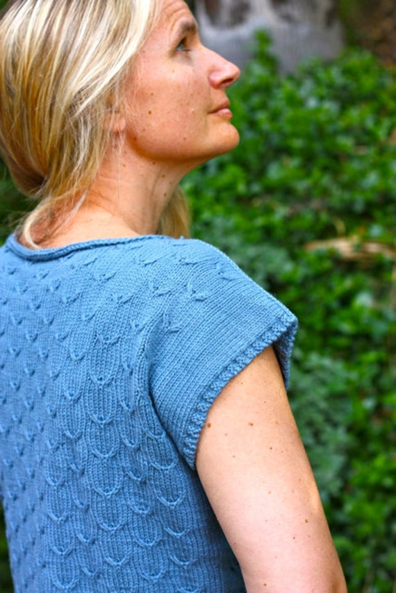 Knitting Pattern PDF - Passerine Slip Stitch Cable Short Sleeve Pullover Sweater
