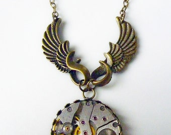 Vintage watch movement Pendant - Steampunk Inspired - Time Flies
