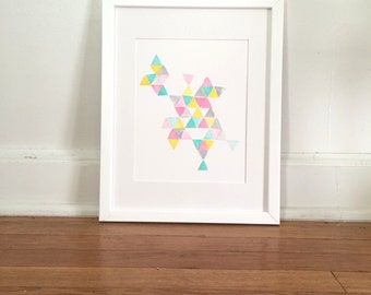 Triangles #2 in Pink, Teal, Yellow, Grey Original Ink