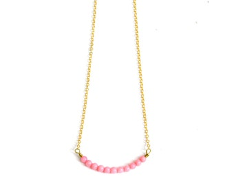 Vintage inspired pink strand of small beads necklace brass bohemian