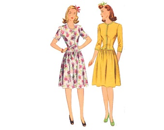 1940s  jacket and skirt 2 Piece Dress 40s Wartime WWII Fashion Size 14 Bust 32 Vintage Sewing Pattern Simplicity 4633