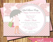 April Showers Girls Baby Shower Invitation - Printable Digital Invite - Fall Baby Shower - Couples Shower - Baby Sprinkle - DIY-  Pink Part