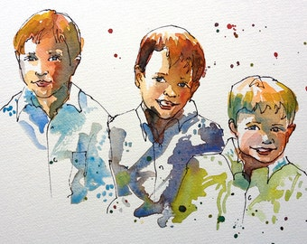 Custom Portrait of 3-4 people. watercolor portrait, custom art, original watercolor painting