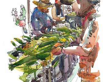 Corn at the Farmers' market an archival print from an original watercolor sketch