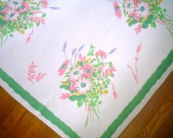 Linen Tablecloth with Pink and Green Bouquets Vintage Flower Print Square Wilendur Tablecloth