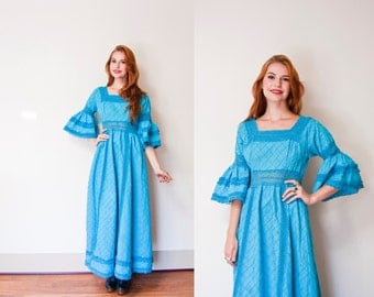 Vintage 1960s Mexican Wedding Dress - Blue Lace Pintucked Maxi Boho Hippie - Medium - Small
