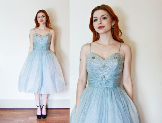 RESERVED - Vintage 1950's Dress -  Ice Blue Sequined Sweetheart Princess Full Skirt Party Dress - Small