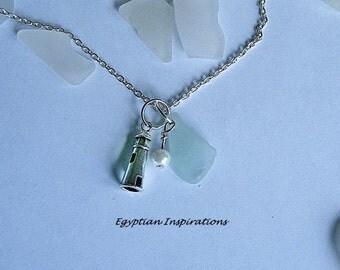 Lighthouse necklace - sea glass beach seaglass jewelry.