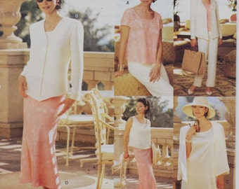 90s Womens Jacket, Dress, Top, Skirt & Pants Vogue Sewing Pattern 1814 Size 12 14 16 Bust 34 36 38 UnCut Vogue Five Easy Pieces