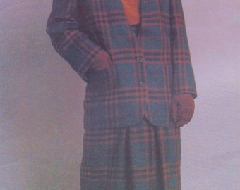 80s Perry Ellis Womens Cardigan Style Jacket, Above Ankle Skirt & Blouse Vogue Sewing Pattern 1474 Size 12 Bust 34 American Designer