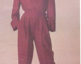 1980s Perry Ellis Womens Wrap Front Jumpsuit Vogue Sewing Pattern 1605 Size 14 Bust 36 UnCut Vintage Vogue American Designer