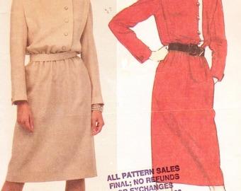 80s Womens Pullover Dress & Belt Asymmetrical Button Front Closing McCalls Sewing Pattern 9304 Size 12 Bust 34 UnCut