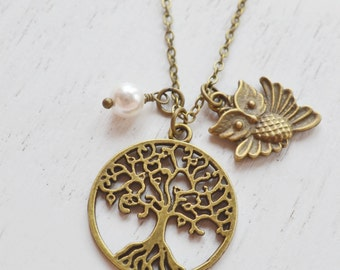 Tree of Life Necklace,Owl Necklace,Bridesmaid Gift,Tree Necklace,Family Necklace,Whimsical Owl Jewelry,Tree Bird,Animal Jewelry,Cute Owl