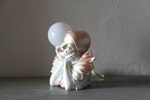 Reserved For V Pretty French Vintage Pierrot Clown Table Lamp