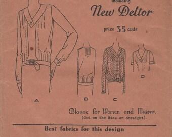 FACTORY FOLDED 1920's Misses' Blouse Butterick Deltor 3073 Size Bust 38