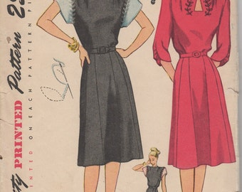 1940's Misses' Daytime and Evening Dress Simplicity 1780 Bust 34 Hip 37