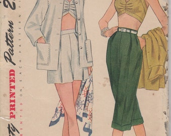 1950's Misses' Jacket, Bra, Shorts, and Pedal-Pushers Simplicity 3250 Size 14 Bust 32