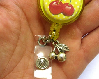 Cherry Retractable ID Badge Reel Cherries Name Tag Holder