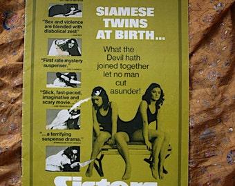 Sisters Conjoined Siamese Twins Film Press Book 1973 AIP Brian DePalma Margot Kidder Salt Knives Siamese Twins The Devil American Horror