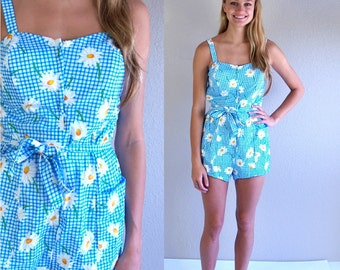 vtg 60s blue gingham DAISY PRINT pinup SWIMSUIT Med/Large floral print bathing suit romper swimwear one piece