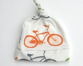 Bike Hat in Orange, Green and Gray knotty hat Size 0-6 or 6-12 months with Bicycle Baby Photo PropOrganic Baby Hat