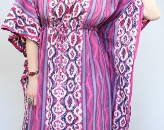 SALE - Vintage - Purple & Pink - Ethnic Batik - Drawstring Empire Waist - Flutter - Long Caftan - Maxi Dress - Boho - Hippie - Festival