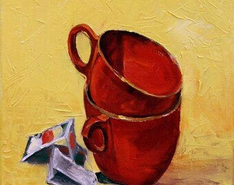 Original Oil Painting  8 x 10 Still Life Cups and Tea Bag