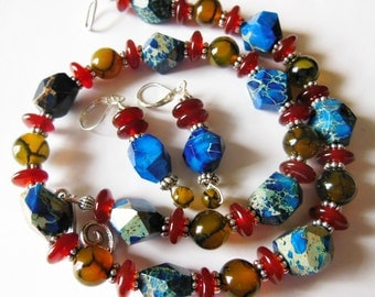 Ocean waves on Agate, set necklace and earrings  S579