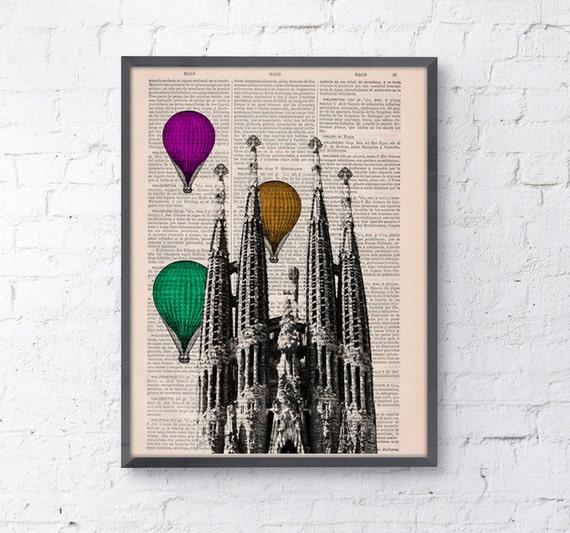 Vintage Book Print - Barcelona Sagrada Familia Multicolored Balloons Ride Print on Vintage Book art Gaudi Holy Family TVH025