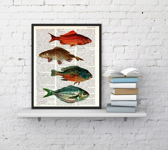 fishes print Vintage Book Print Dictionary or Encyclopedia Page Print- Book print Dictionary Bookart art SEA056b