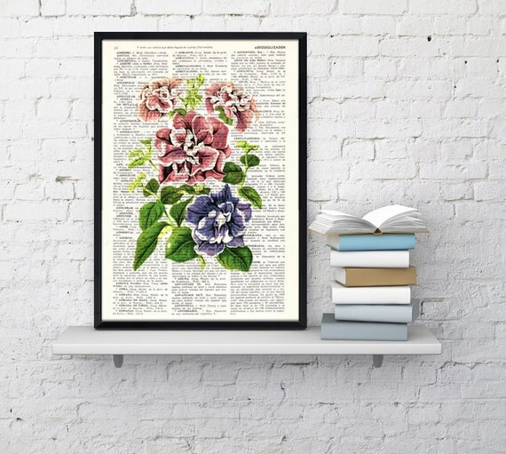 Wall art print Pink and lilac flowers print, Decorative art flowers print, Wall decor bedroom, gardening, gift her BPBB080