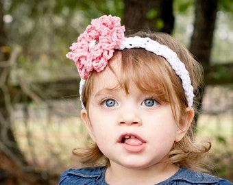 Crochet Pattern for Zoey Headband with Loopy Flower - Sizes baby to adult - Welcome to sell finished items