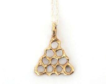 Honeycomb Tower Necklace - Golden Brass