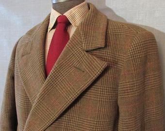 Vintage Mens Glen Plaid Tweed Overcoat, Heavy Wool Topcoat, Winter Coat,Mens Size 44, Full Length Coat, Double Breasted, Brown, Red, Green