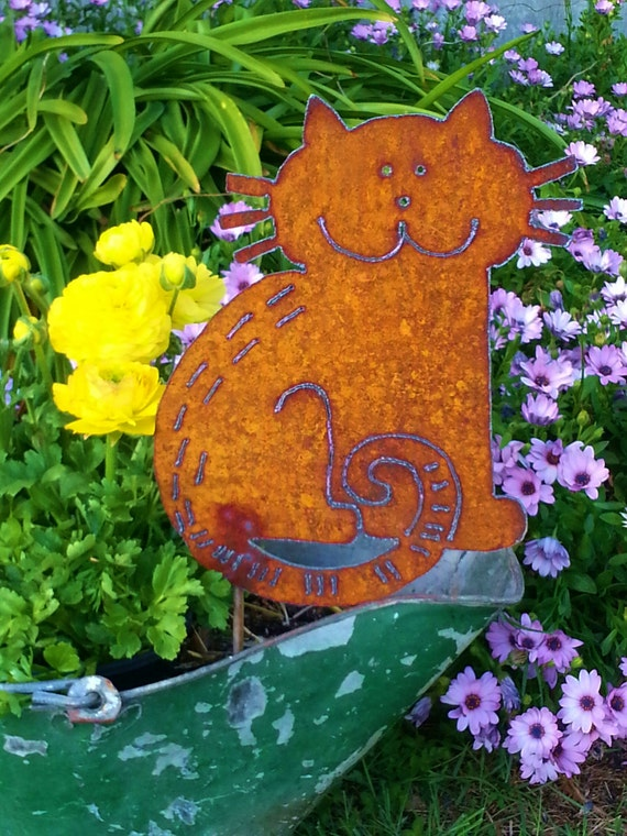 Cat silhouette whimsical metal art garden decor rusty yard for Cat yard art