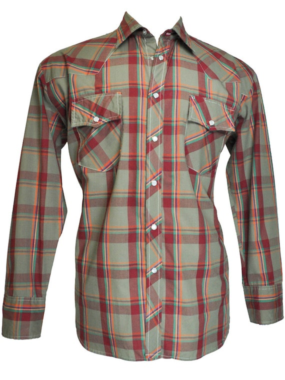 western style pearl snap shirt gray and burgundy plaid xl