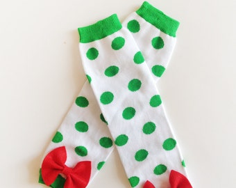 Christmas Baby Leg Warmers, Green and White Polka Dotted Baby Leg Warmers with Bow, Christmas, St Patrick's Day