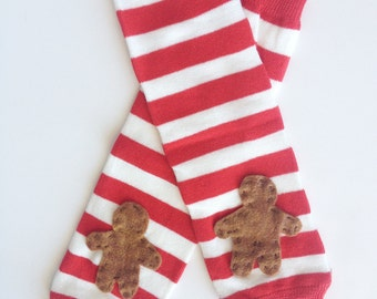 Christmas Leg Warmers, Gingerbread Man on Red and White Striped baby leg warmers