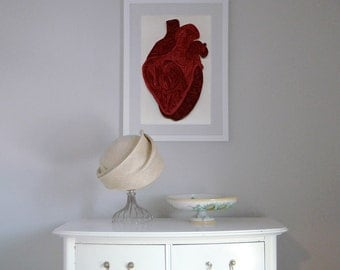Quilled Human Heart poster, Doctor Decor Print, Minimalist goth poster, Color anatomic illustration, Paper art print, quilled poster,