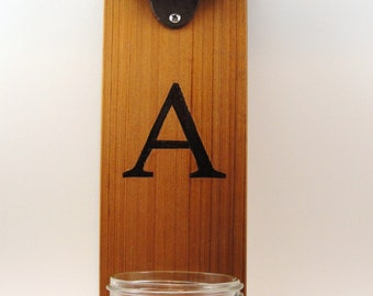 CUSTOM Your Initial wall mount bottle opener cast iron cedar mason jar cap catcher CUSTOM
